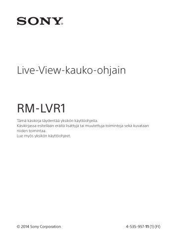 Sony RM-LVR1 - RM-LVR1 Dépliant Finlandais