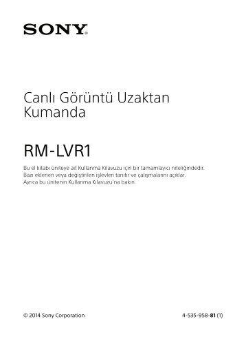 Sony RM-LVR1 - RM-LVR1 Consignes d'utilisation Turc