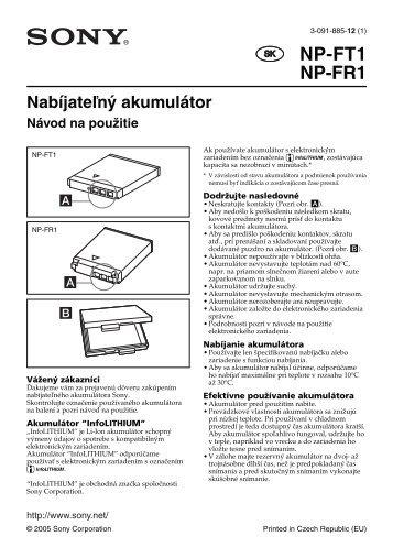 Sony NP-FR1 - NP-FR1 Consignes d'utilisation Slovaque