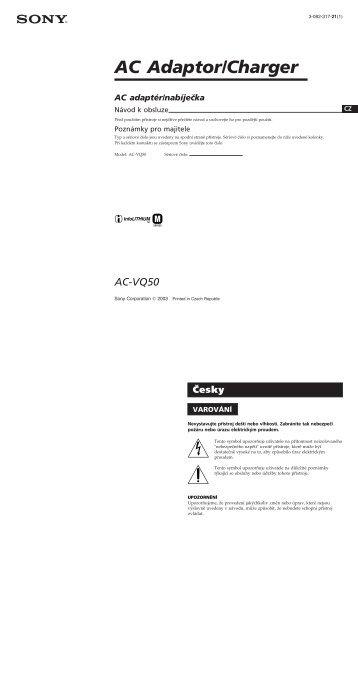 Sony AC-VQ50 - AC-VQ50 Consignes d'utilisation Tchèque