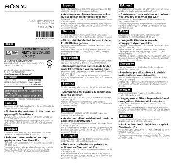 Sony FDA-EP15 - FDA-EP15 Mode d'emploi Slovaque