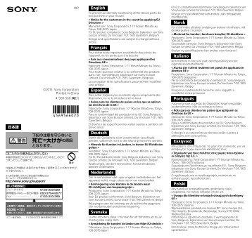 Sony SPK-X1 - SPK-X1 Mode d'emploi Néerlandais