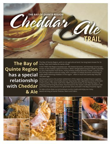 The Bay of Quinte Region has a special relationship with Cheddar & Ale