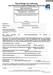 Fax-Anfrage zur Lieferung von Versicherungsbestätigungen durch ias