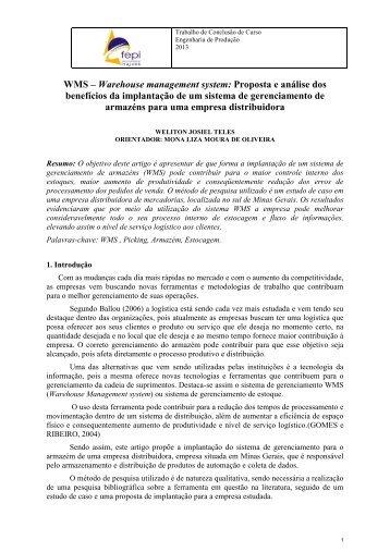 WMS – Warehouse management system: Proposta e análise dos benefícios da implantação de um sistema de gerenciamento de armazéns para uma empresa distribuidora