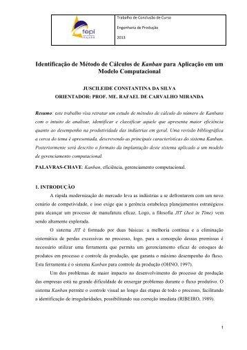 Identificação de Método de Cálculos de Kanban para Aplicação em um Modelo Computacional