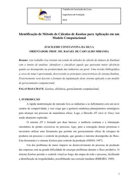 Identificação De Método De Cálculos De Kanban Para