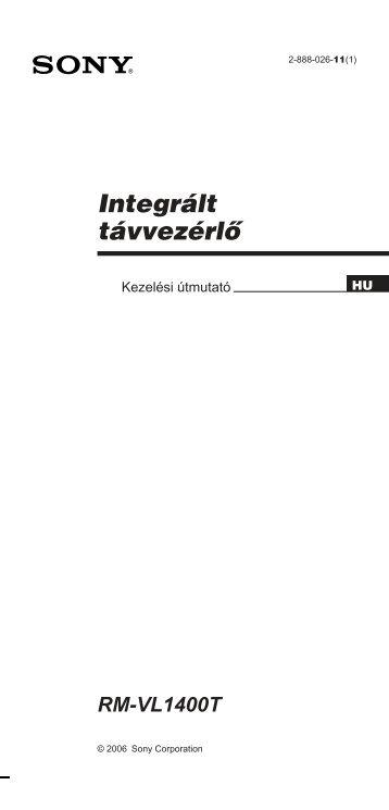 Sony RM-VL1400T - RM-VL1400T Consignes d'utilisation Hongrois