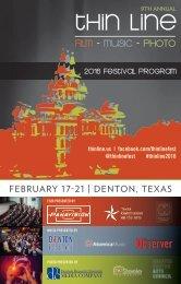 2016 Festival Program FEBRUARY 17-21   DENTON TEXAS