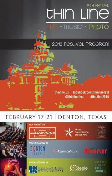 2016 Festival Program FEBRUARY 17-21 | DENTON TEXAS