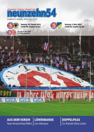 neunzehn54, Doppelausgabe SV Hö-Nie-1. FC Mönchengladbach. Heft 8, Saison 2015/16