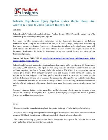 Ischemia Reperfusion Injury Pipeline Review Market Share, Size, Growth & Trend to 2015 Radiant Insights, Inc