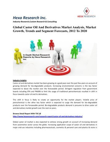 Global Castor Oil And Derivatives Market Analysis, Market Growth, Trends and Segment Forecasts To 2020