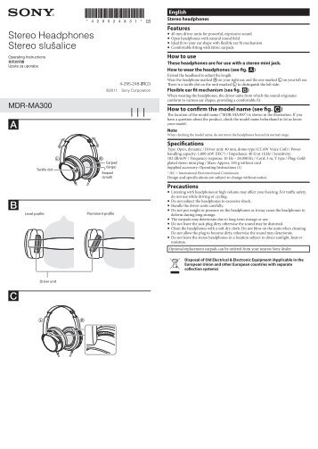 Sony MDR-MA300 - MDR-MA300 Mode d'emploi Croate
