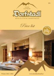 Hotel Dorfstadl Preisliste Winter 15/16 EN