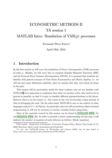 ECONOMETRIC METHODS II TA session 1 MATLAB Intro