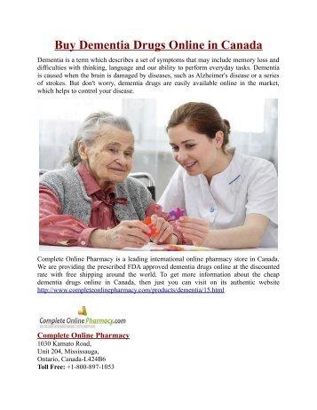 Buy Dementia Drugs Online in Canada