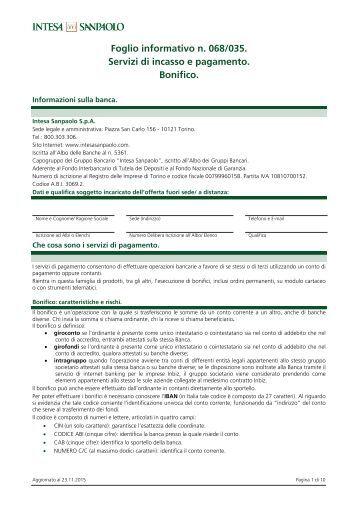 Foglio informativo n 068/035 Servizi di incasso e pagamento Bonifico