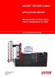 TESTER 5-S800 APPLICATION REPORT ... - Uster Technologies
