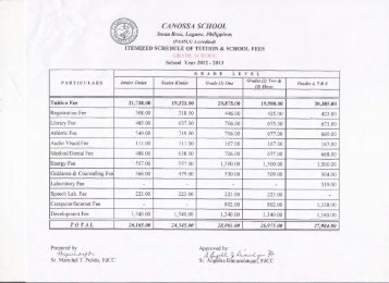 Tuition and School Fees - Canossa School-Sta. Rosa Laguna ...
