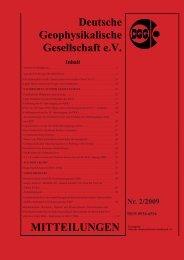 DGG MITTEILUNGEN - Deutsche Geophysikalische Gesellschaft