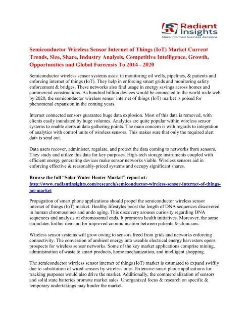 Semiconductor Wireless Sensor Internet of Things (IoT