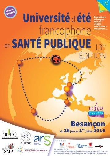 Université d'été francophone SANTÉ PUBLIQUE