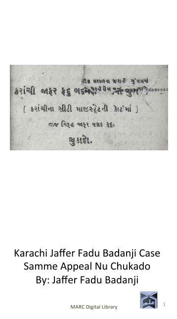 Book 30 Karachi Jafar Fadu Bandanji Case Samme Appeal Nu Chukado