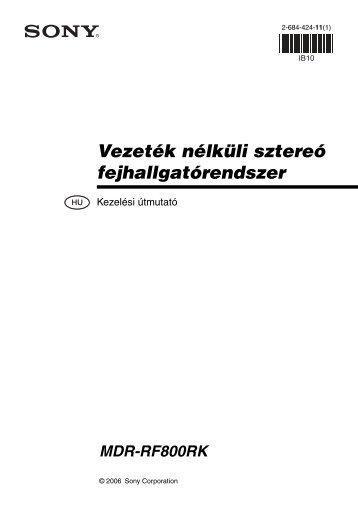 Sony MDR-RF800RK - MDR-RF800RK Consignes d'utilisation Hongrois