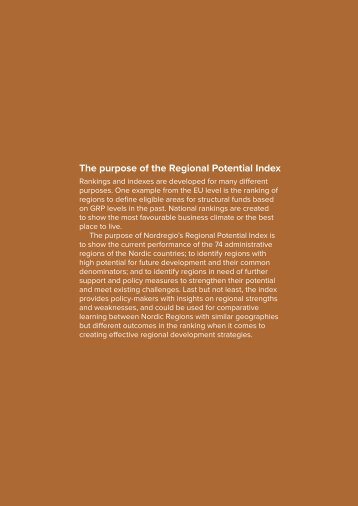 The purpose of the Regional Potential Index