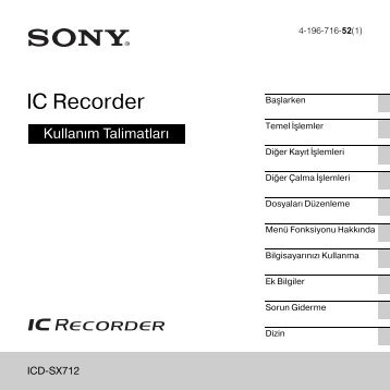 Sony ICD-SX712 - ICD-SX712 Consignes d'utilisation Turc