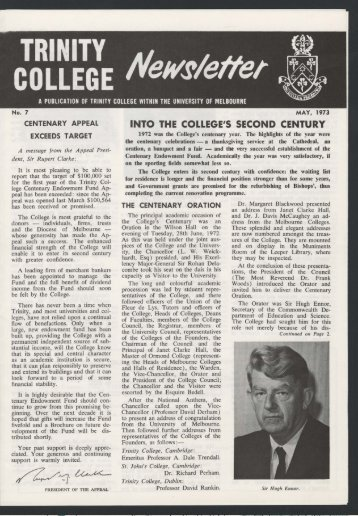Trinity College Newsletter, vol 1 no 7, May 1973