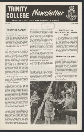Trinity College Newsletter, vol 1 no 10, April 1976