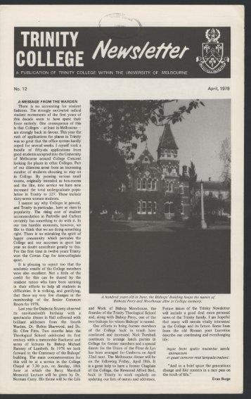 Trinity College Newsletter, vol 1 no 12, April 1978