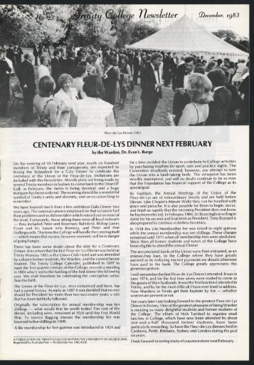Trinity College Newsletter, vol 1 no 23, December 1983
