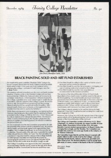 Trinity College Newsletter, vol 1 no 40, December 1989