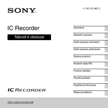 Sony ICD-UX513F - ICD-UX513F Consignes d'utilisation Tchèque