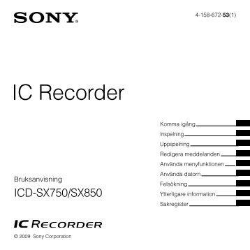 Sony ICD-SX750 - ICD-SX750 Consignes d'utilisation Suédois