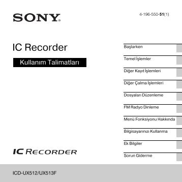 Sony ICD-UX512 - ICD-UX512 Consignes d'utilisation Turc