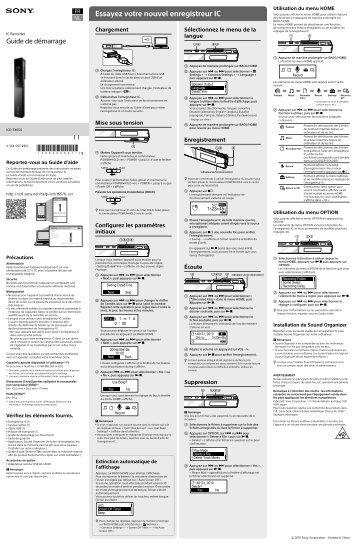 Sony ICD-TX650 - ICD-TX650 Mode d'emploi Français