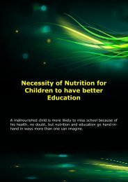 Necessity of Nutrition for Children to have better Education