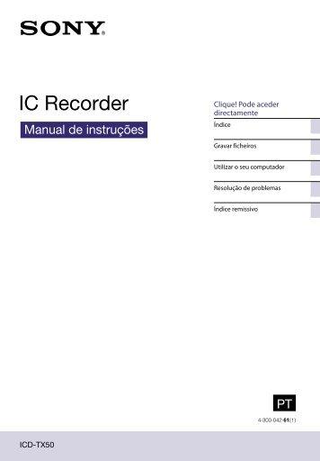 Sony ICD-TX50 - ICD-TX50 Consignes d'utilisation Portugais