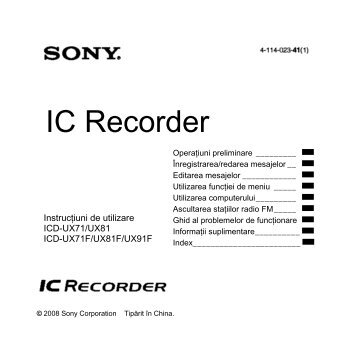 Sony ICD-UX81 - ICD-UX81 Mode d'emploi Roumain