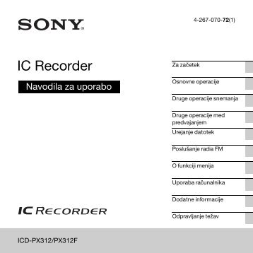 Sony ICD-PX312F - ICD-PX312F Consignes d'utilisation Slovénien