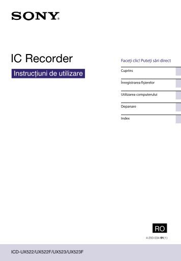 Sony ICD-UX522 - ICD-UX522 Consignes d'utilisation Roumain