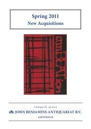 Catalog 285: Spring 2011. New Acquisitions - John Benjamins