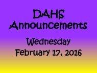 DAHS Announcements