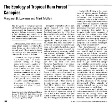 The Ecology of Tropical Rain Forest Canopies - Meg Lowman