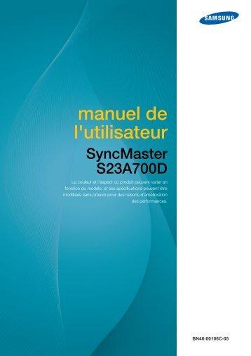 Samsung 23'' Série 7 Moniteur LED 3D S23A700D (LS23A700DSL/EN ) - Manuel de l'utilisateur 3.8 MB, pdf, Français