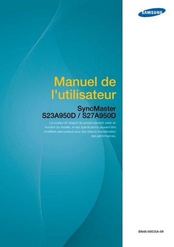 Samsung 27'' Série 9 Moniteur LED 3D S27A950D (LS27A950DS/EN ) - Manuel de l'utilisateur 3.75 MB, pdf, Français